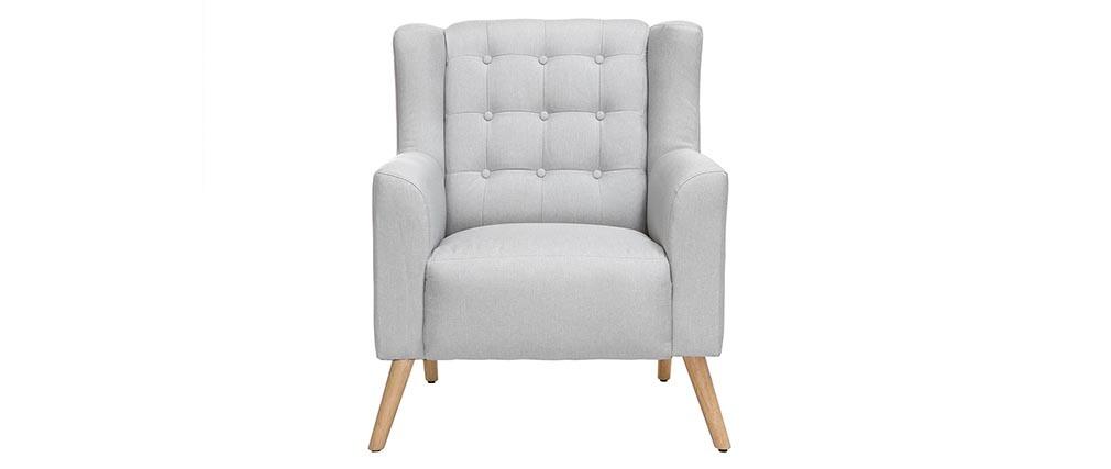 Fauteuil design scandinave gris clair et bois clair BRIGHTON
