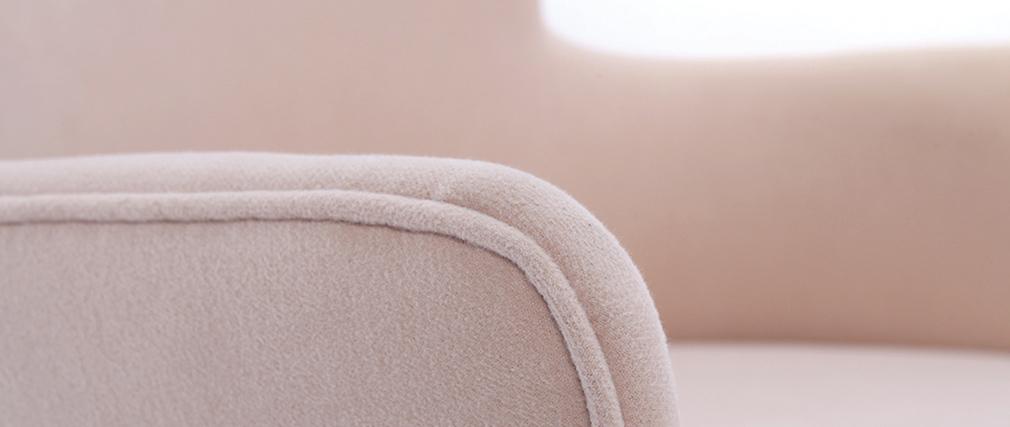Fauteuil design tissu beige pieds noyer BJORG