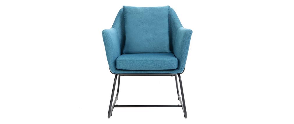 Fauteuil design tissu bleu canard et structure métal noir MONROE
