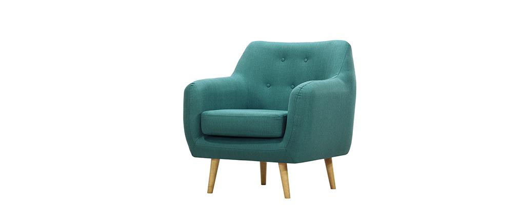 Fauteuil design tissu bleu canard pieds bois clair olaf lot de 4 pieds bois - Fauteuil bleu canard ...