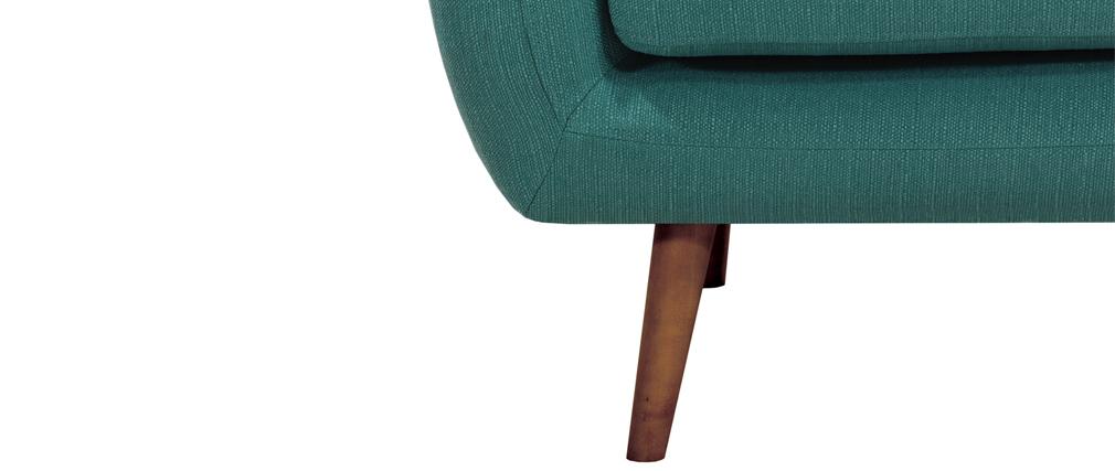 Fauteuil design tissu bleu canard pieds noyer OLAF