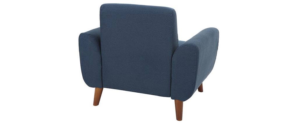 Fauteuil design tissu bleu et bois foncé EKTOR