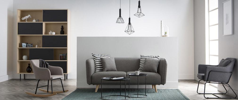 Fauteuil design tissu bleu foncé et structure métal noir MONROE