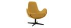 Fauteuil design tissu effet velours jaune moutarde ANDY - Miliboo & Stéphane Plaza