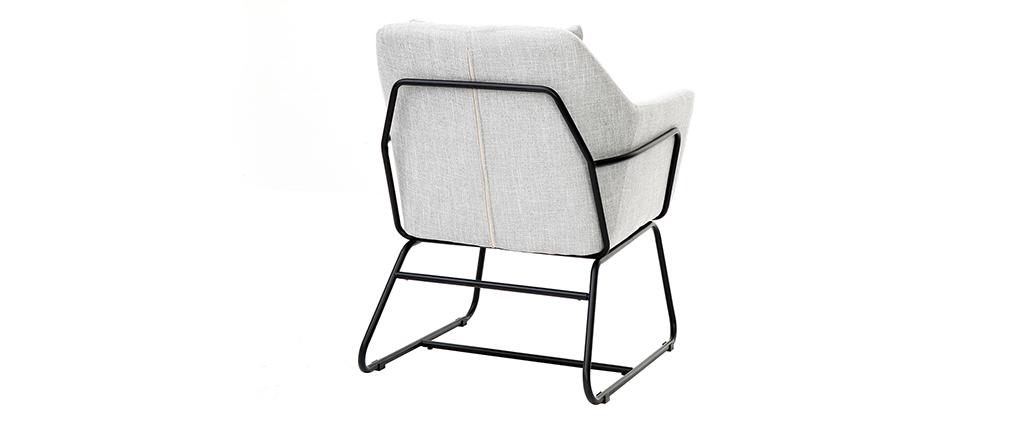 Fauteuil design tissu gris clair et structure métal noir MONROE