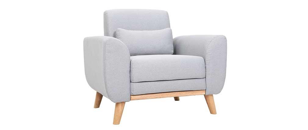 Fauteuil design tissu gris et bois clair EKTOR