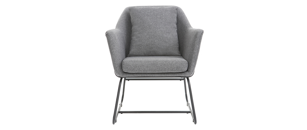 Fauteuil design tissu gris foncé et structure métal noir MONROE
