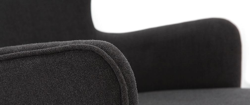 Fauteuil design tissu gris foncé pieds frêne BJORG