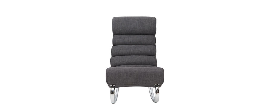 Fauteuil design tissu gris rocking chair TAYLOR