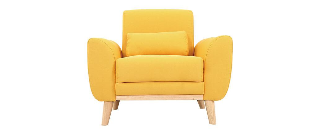 Fauteuil design tissu jaune et bois clair EKTOR