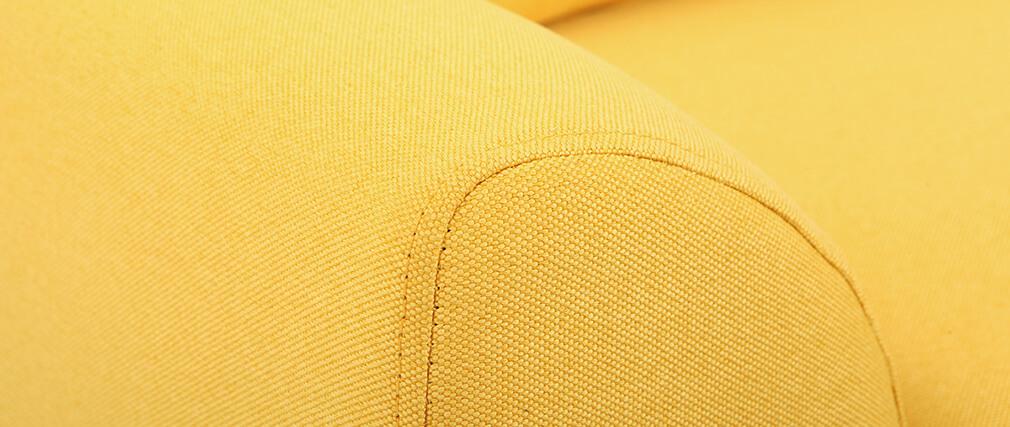Fauteuil design tissu jaune et pieds chêne  EKTOR