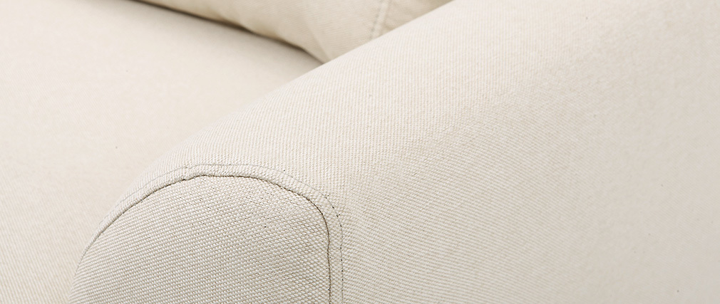 Fauteuil design tissu naturel et pieds chêne EKTOR