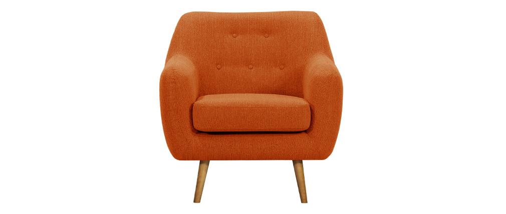 Fauteuil design tissu orange pieds bois clair OLAF