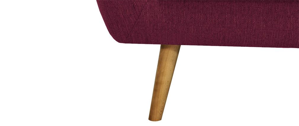 Fauteuil design tissu prune pieds bois clair OLAF
