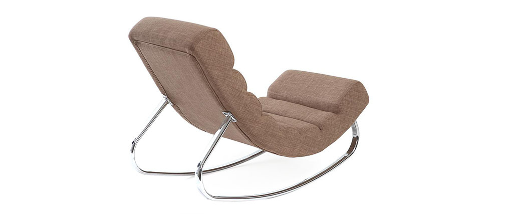 Fauteuil design tissu taupe rocking chair TAYLOR