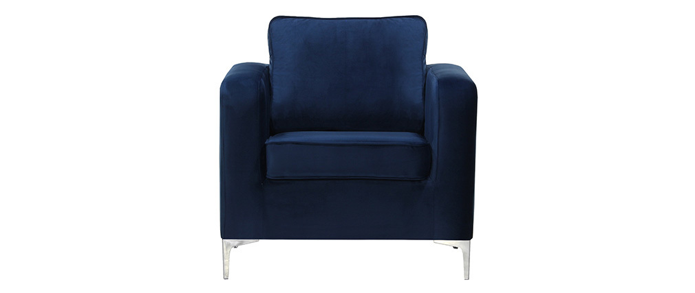 Fauteuil Bleu Velours Harry Miliboo Design Nuit IbfvY7gy6