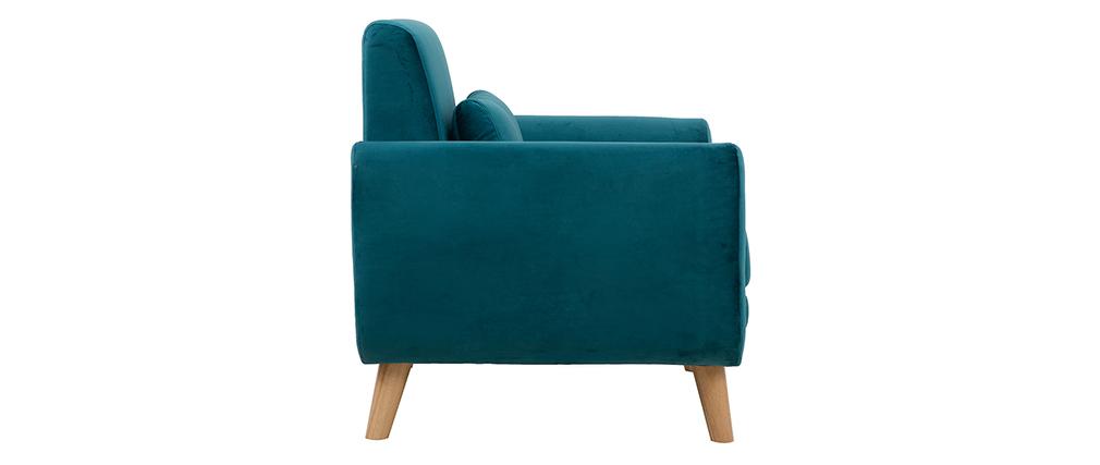 Fauteuil design velours bleu pétrole et bois clair EKTOR