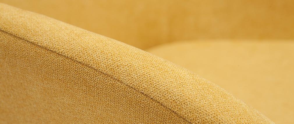 Fauteuil en tissu effet velours jaune moutarde MAYNE