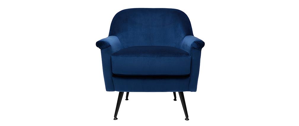 Fauteuil en velours bleu ADAM