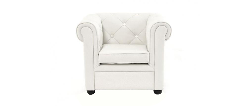 Fauteuil enfant blanc baby chesterfield miliboo - Fauteuil chesterfield enfant ...