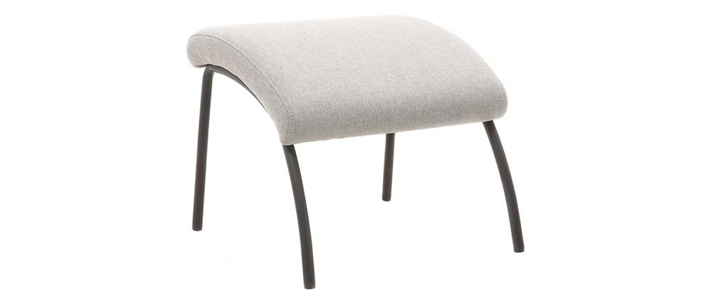 Fauteuil et repose-pieds contemporain tissu gris ULYSSE