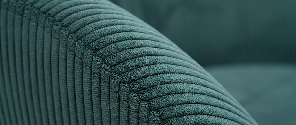 Fauteuil et repose-pieds design en velours côtelé vert ZOE