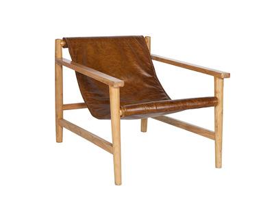 Fauteuil lounge vintage cuir camel GEORGES