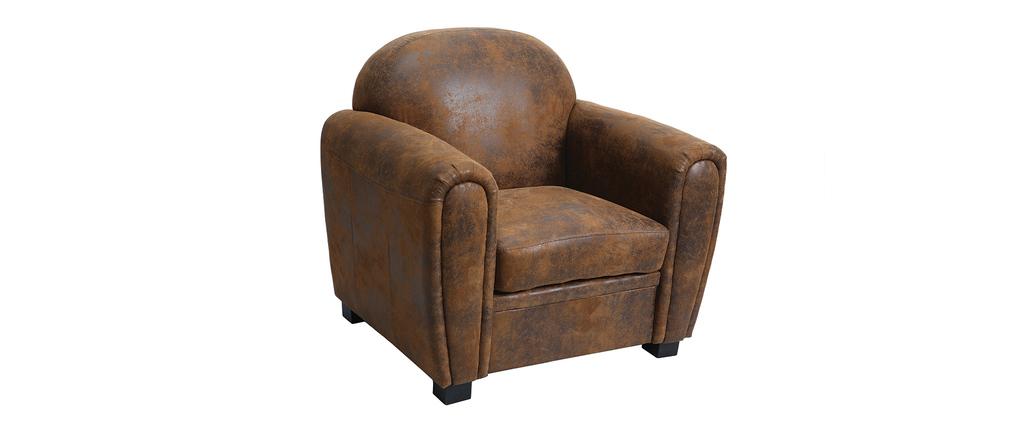 fauteuil marron microfibre effet vieilli club miliboo. Black Bedroom Furniture Sets. Home Design Ideas