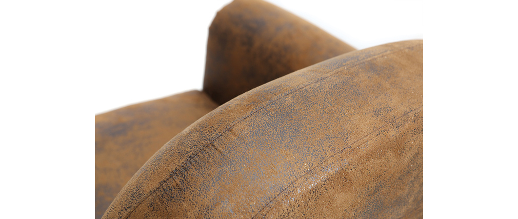 Fauteuil marron microfibre effet vieilli CLUB