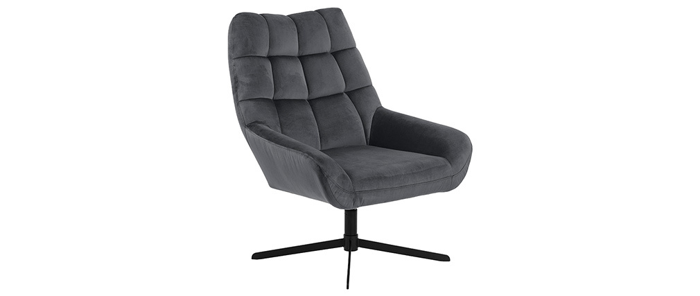 Fauteuil pivotant design en velours gris anthracite KING