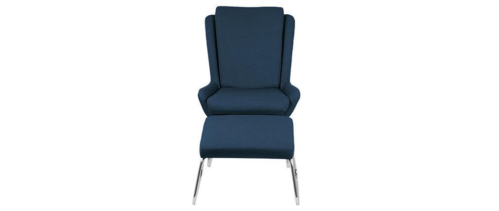 Fauteuil relax design avec repose pieds bleu HARPER