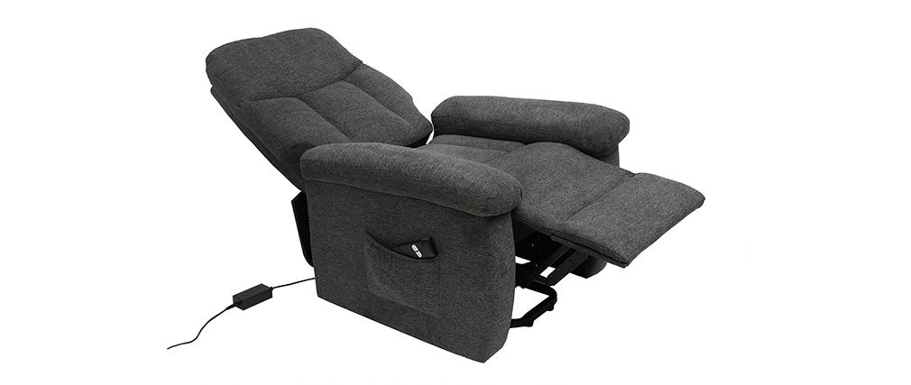 Fauteuil relax électrique inclinable en tissu gris MOVIE