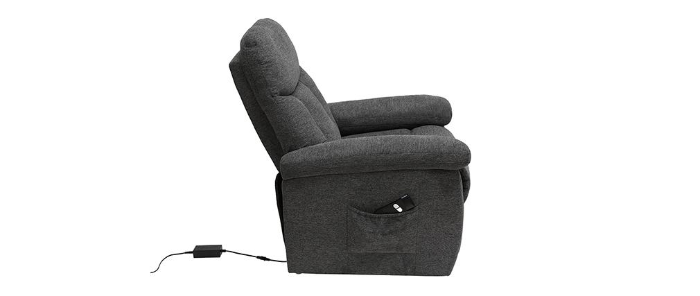 Fauteuil relax électrique inclinable et relevable en tissu gris MOVIE