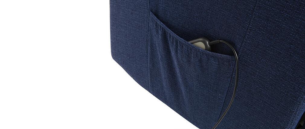 Fauteuil relax électrique releveur tissu bleu foncé PHOEBE
