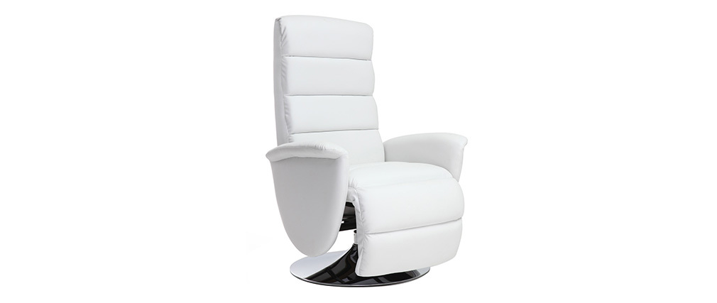 fauteuil relax manuel blanc nelson miliboo. Black Bedroom Furniture Sets. Home Design Ideas