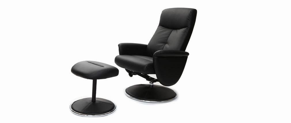 Fauteuil relax manuel et repose-pieds noir ARNY