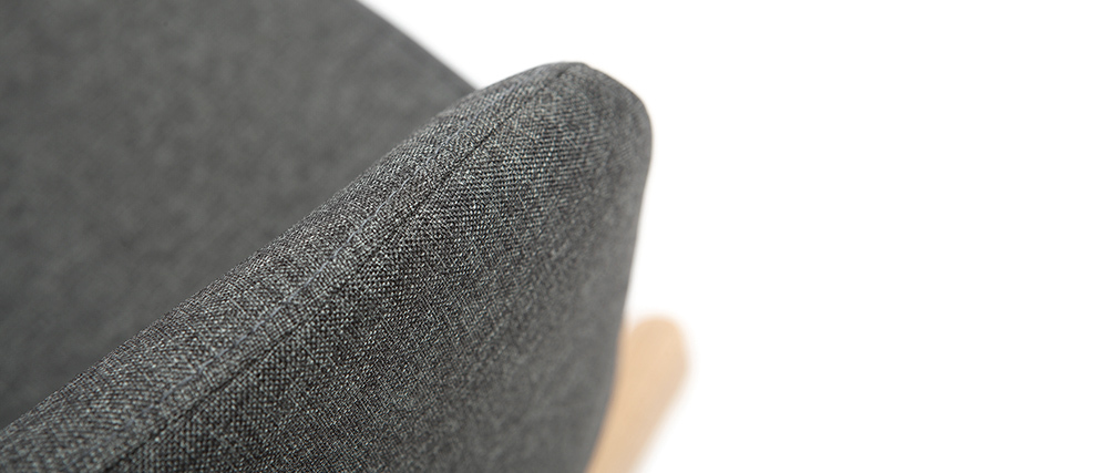 Fauteuil relax - Rocking chair 2 places tissu gris anthracite pieds métal et frêne JHENE
