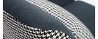 Fauteuil rétro en velours bleu gris et tissu pied-de-poule DORIS