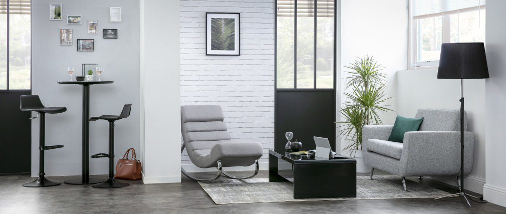 Fauteuil rocking chair design en tissu gris clair TAYLOR