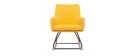 Fauteuil rocking chair design tissu jaune SHANA