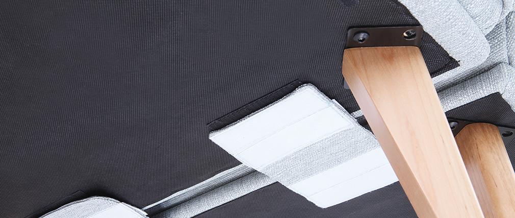 Fauteuil scandinave à combiner tissu gris clair BENNIE