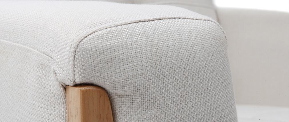 Fauteuil scandinave blanc cassé pieds bois FJORD