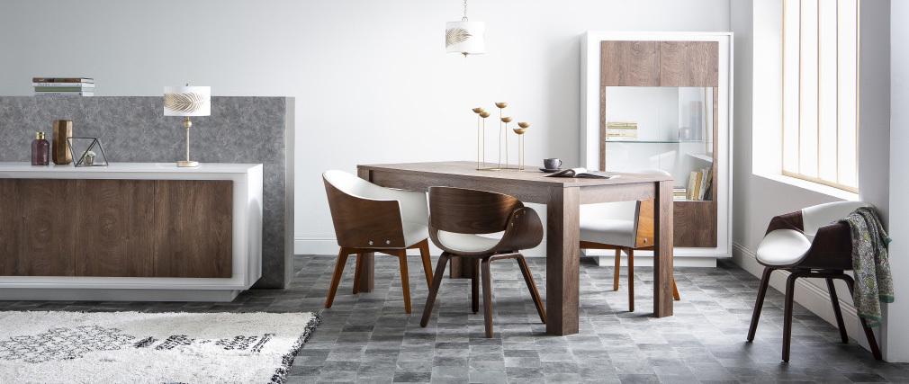 Fauteuil scandinave blanc et bois foncé ARAMIS