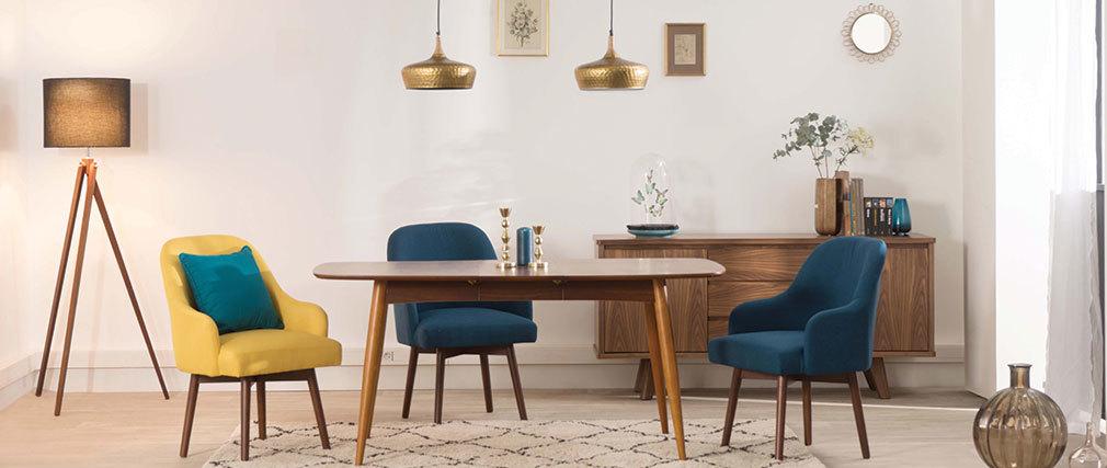 Fauteuil scandinave bleu canard et bois foncé MONA