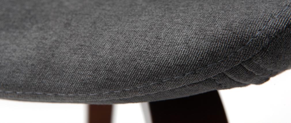 Fauteuil scandinave bois et tissu gris HENIK