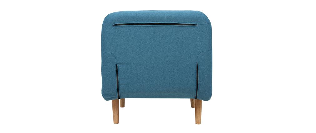Fauteuil scandinave convertible en tissu bleu canard AMIKO