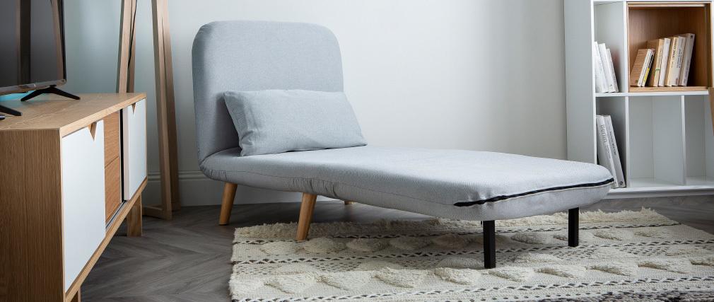 Fauteuil scandinave convertible tissu gris foncé AMIKO