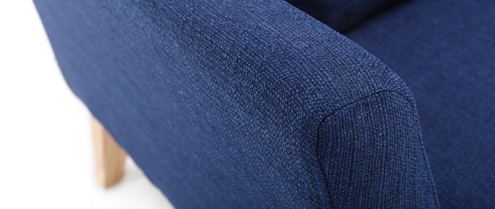 Fauteuil scandinave déhoussable bleu foncé pieds bois clair OSLO