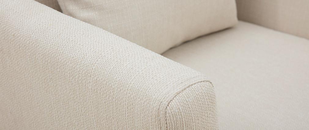 Fauteuil scandinave déhoussable tissu beige OSLO