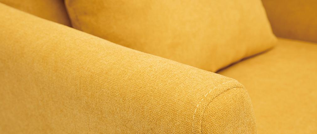 Fauteuil scandinave déhoussable tissu effet velours moutarde OSLO